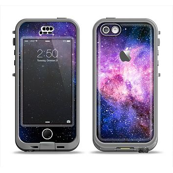 The Vibrant Purple and Blue Nebula Apple iPhone 5c LifeProof Nuud Case Skin Set