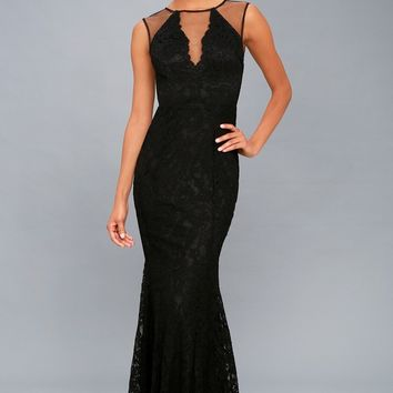 Amazing Lace Black Lace Maxi Dress