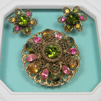 Bold Floral Green and Pink Rhinestone Set, Classic Vintage