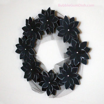 Black Halloween Decor Halloween Wreath Black by BubbleGumDish