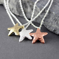 Starfish Pendant. Brass, Copper or Sterling Silver, Beach Jewelry, Ocean Jewelry, Gifts for her