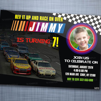 Nascar Birthday Invitations, Birthday Party, Invitation Card Design