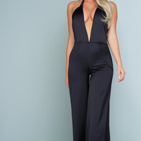 Kayla Satin Jumpsuit - Black
