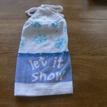 Lovely Let It Snow Hanging Dish Towel With Hand Knit Topper and Ties