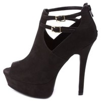Ankle Strap Cut-Out Peep Toe Booties by Charlotte Russe - Black