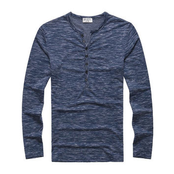 Heathered Henley Blue