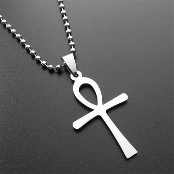 R112ER Vintage Egyptian Ankh Pendant Necklace Cool Male Cross Necklaces Cheap Mens Stainless Steel Custom Jewelry PN005