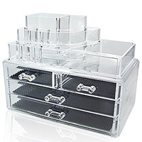 Ikee Design® Acrylic Jewelry & Cosmetic Storage Display Boxes 2 Piece Set