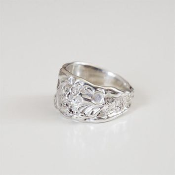 SLOPE IMPRINTED RING {silver}
