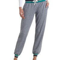 Sporty Striped Jogger Sweatpants by Charlotte Russe - Navy