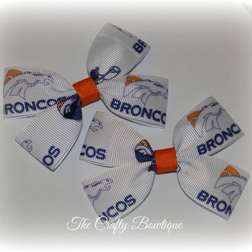 Denver Broncos ~ Clippie PIgtail Hair Bow Set ~ Orange, Blue and White ~Sports Team Bows ~ NFL Bows