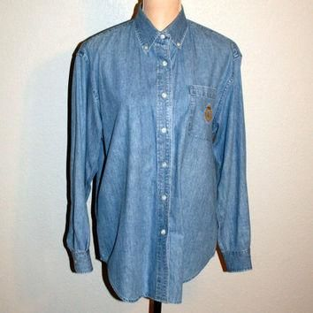 Denim Shirt Small Light Wash Denim Top Long Sleeve Button Up Casual Shirt Blue Jean Sh