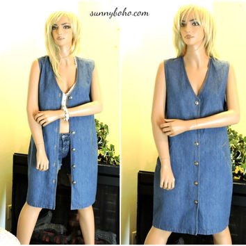 90s sleeveless denim duster size M jean jumper dress 1990s boho grunge hipster long jean vest SunnyBohoVintage