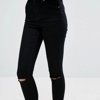 ASOS TALL RIDLEY High Waist Skinny Jean In Clean Black With Ripped Knees at asos.com