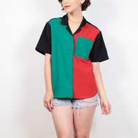 Vintage 80s Blouse Black Red Green Color Blocked Shirt 1980s Shirt Mondrian Print Patchwork Button Down Top New Wave Mod Shirt M Medium L