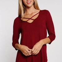 Criss Cross 3/4 Sleeve Top - Burgundy