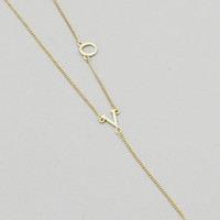 Y Shaped Gold LOVE Drop Necklace