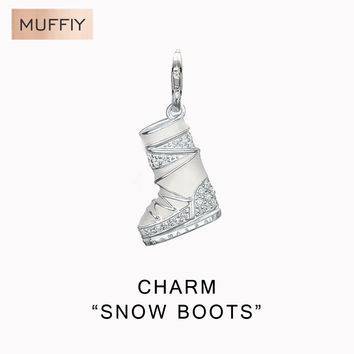Snow Boots Trendy Charm ,TS Style Club Fashion Jewelry For Women,Ts Shoe Winter Gift In 925 Sterling Silver Fit Bracelet