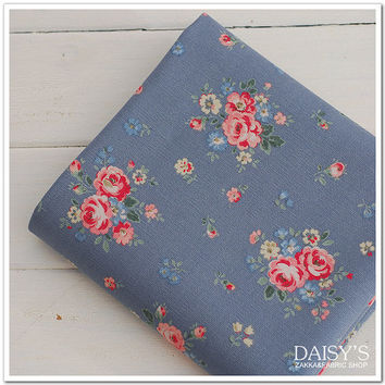 Cotton canvas fabric, upholstery fabric, floral fabrics, blue fabrics, retro fabric, vintage fabrics, 0.5m