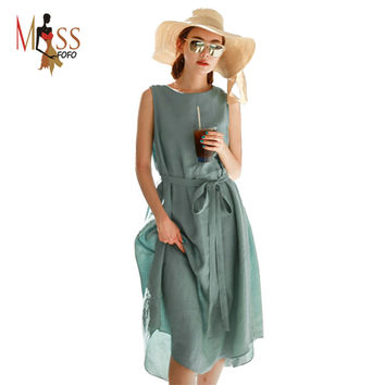 2016 summer new fashion beach dress women's linen comfortable casual dress cotton long brief One Piece good quality