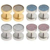 BodyJ4You Fake Plugs Glitter Piercing Plug 00G Gauge Stainless Steel Cheater Stud Earring 8 Pieces