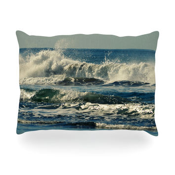 "Robin Dickinson ""Forever Young"" Blue Coastal Oblong Pillow"