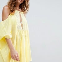 ASOS Cold Shoulder Lace Front Beach Cover Up at asos.com