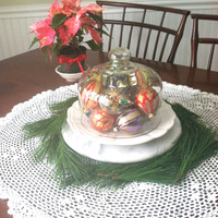 Holiday Dome / Vintage Glass Dome / Cloche / Storage / Display / Cottage Style / Shabby Chic / Glass Dome / Holiday Decoration
