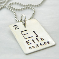 Personalized Periodic Table Element hand stamped sterling silver necklace