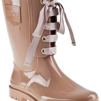 RED Valentino Lace-up Rain Boot Pale Rose Rubber - Jildor Shoes, Since 1949