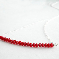Sterling silver bar necklace - red beaded necklace - Christmas present for girlfriend