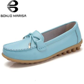 BONJOMARISA Women 2018 Split Leather Shoes Woman BowKnot Loafers Round Toe Ballerina Flats Slip On Comfortable Moccasins
