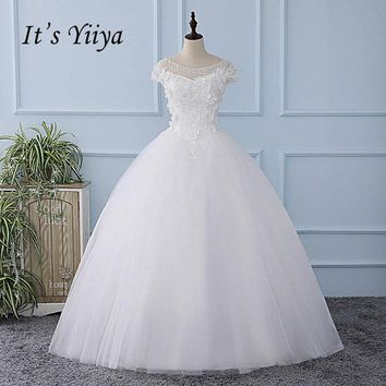 It's YiiYa White Short Sleeve Illusion Wedding Dress Appliques Floor Length Bride Wedding Gown Vestidos De Novia Casamento XL620