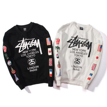 Round-neck Stussy Pullover Hoodies Couple Jacket [9370033991]