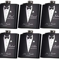 Set of 6, Set of 3, Single - Personalized Flask, Groomsmen Gift, Customized Groomsman Flasks, Wedding Favors, Matte Black … (6)