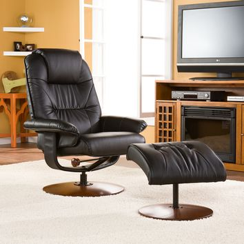 Black Leather Recliner & Ottoman