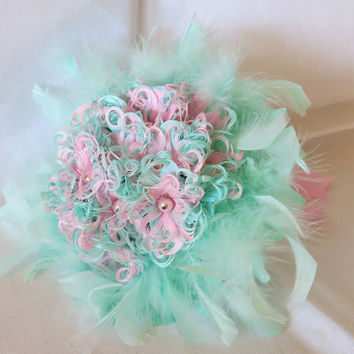 Wedding Bouquet, Couture Bouquet, Feather Bouquet, Pearl Bouquet, Pink, Mint, Vintage Wedding