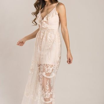 Aubrey Blush Lace Maxi Dress