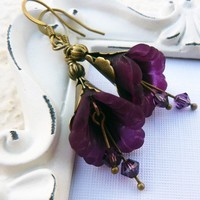 Grape Purple Antique Brass Flower Earrings by lunarbelle on Etsy