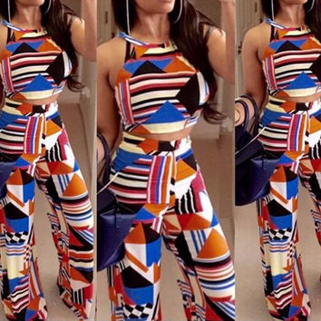 Multi Color Geometric Print Halter Cropped Top and Flared Leg Pants