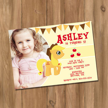 My Cute Pony My Little Pony Apple Jack Inspired Birthday Party Invitation with Photo (Digital - DIY)