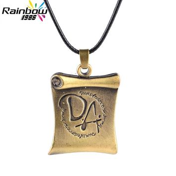Charm Christmas Gift Men's Fashion Jewelry Long Necklace Vintage Bronze Harry DA Reel Book Pendant Necklace for Women