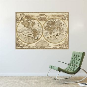 Vintage World Map Large Detailed Antique Poster Wall Chart Retro Paper Matte Kraft Paper Map Of World Home Decoration