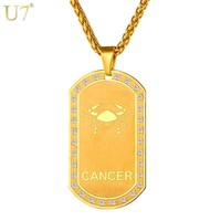 Gold Colar Dog Tags Cancer Pendant