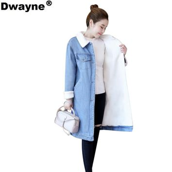 Autumn Winter Jacket coat 2018 Women lambswool coat Long jean Coat With Warm Jeans Coat Female Outwear leisure Wide Denim Jacket