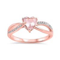 Sterling Silver Rose Gold Plated Heart Simulated Morganite Infinity Ring