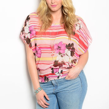 Plus Size Floral & Striped Print Smocked Waist Chiffon Top in Pink