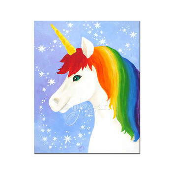"Wall art for kids Room, Rainbow Unicorn,  8""x10"" or 16""x20"" inch art print for girls room or nursery"
