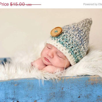 CIJ SALE CIJ Sale, Crochet Baby Hat, Baby Boy Hat, Pixie Hat, Newborn Crochet Hat, Photo Prop, Baby Shower Gift, Coming Home Outfit