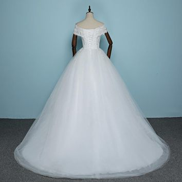 Boat Neck Court Train Wedding Dress Tulle Bridal Ball Gown Lace bridal dresses